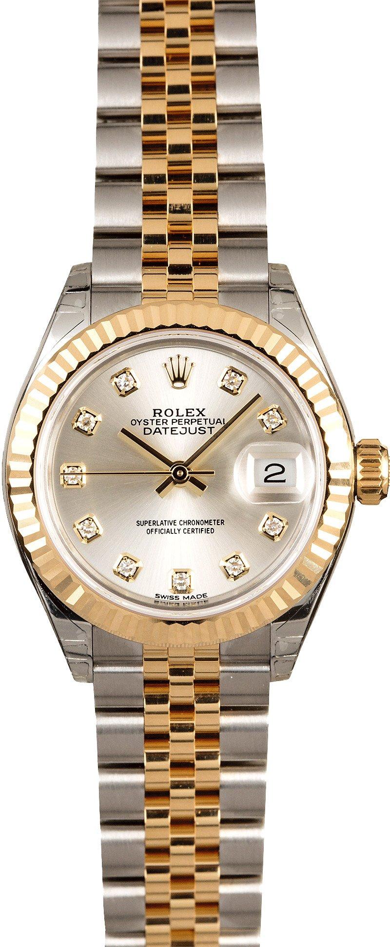 unworn rolex lady datejust 279173 silver diamond dial. Black Bedroom Furniture Sets. Home Design Ideas