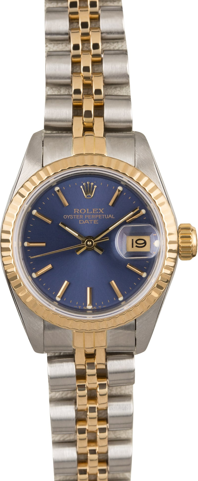 rolex lady datejust 69173 two tone jubilee band with blue dial. Black Bedroom Furniture Sets. Home Design Ideas