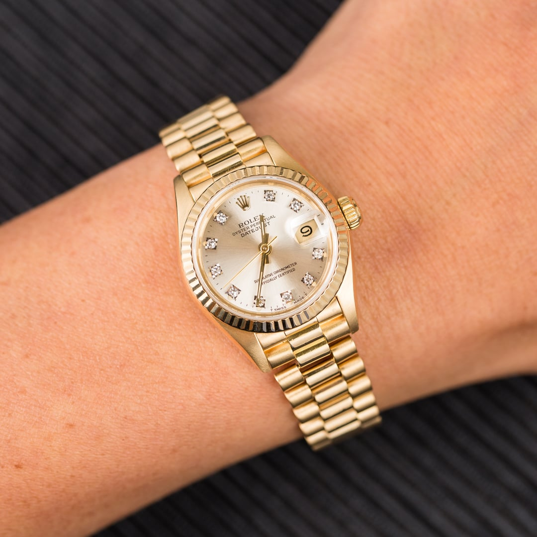 17efe53d1e1 Ladies Rolex Datejust President 69178 Diamonds