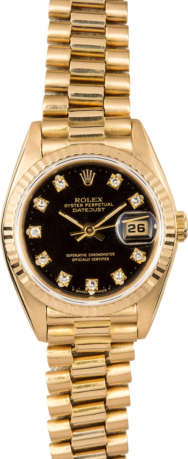 Certified Pre Owned >> Rolex Lady-Datejust President 69178 Black Diamond