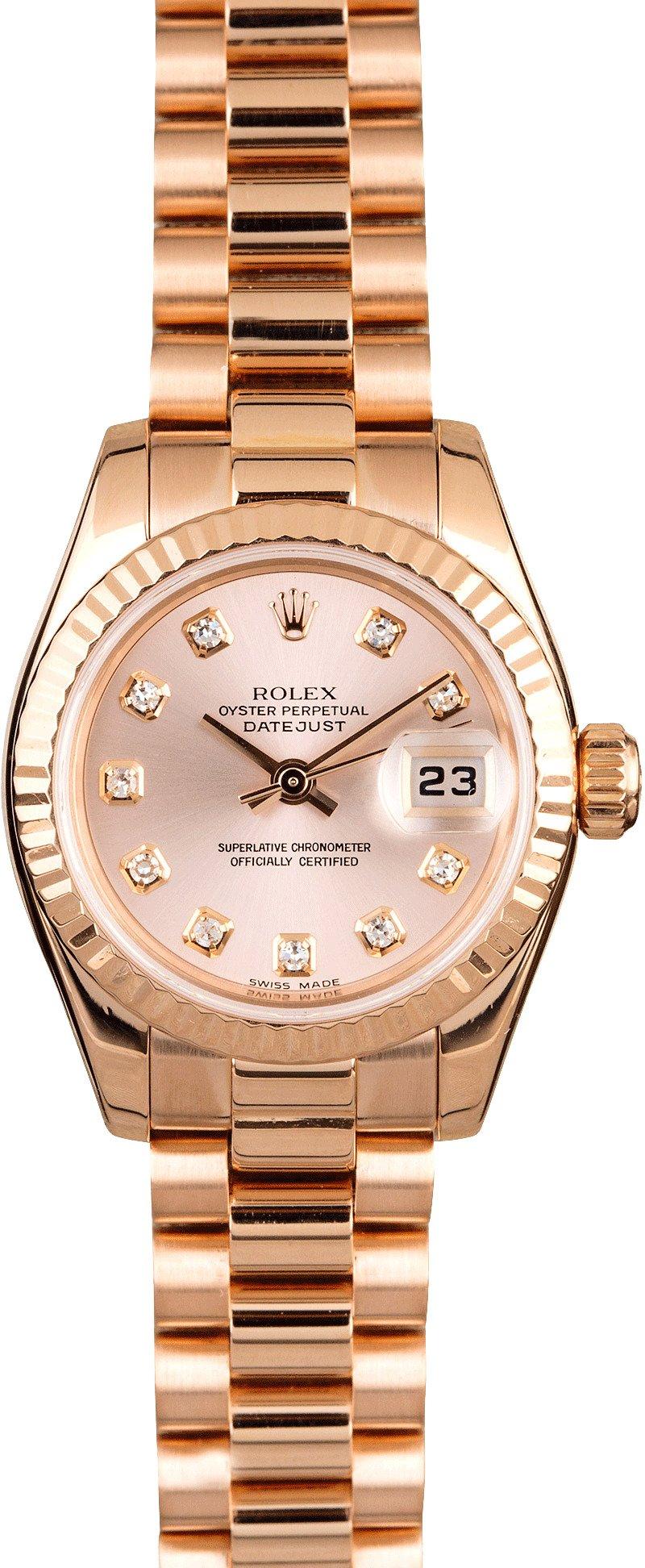 Rolex Ladies Rose Gold President 179175 Diamond Dial