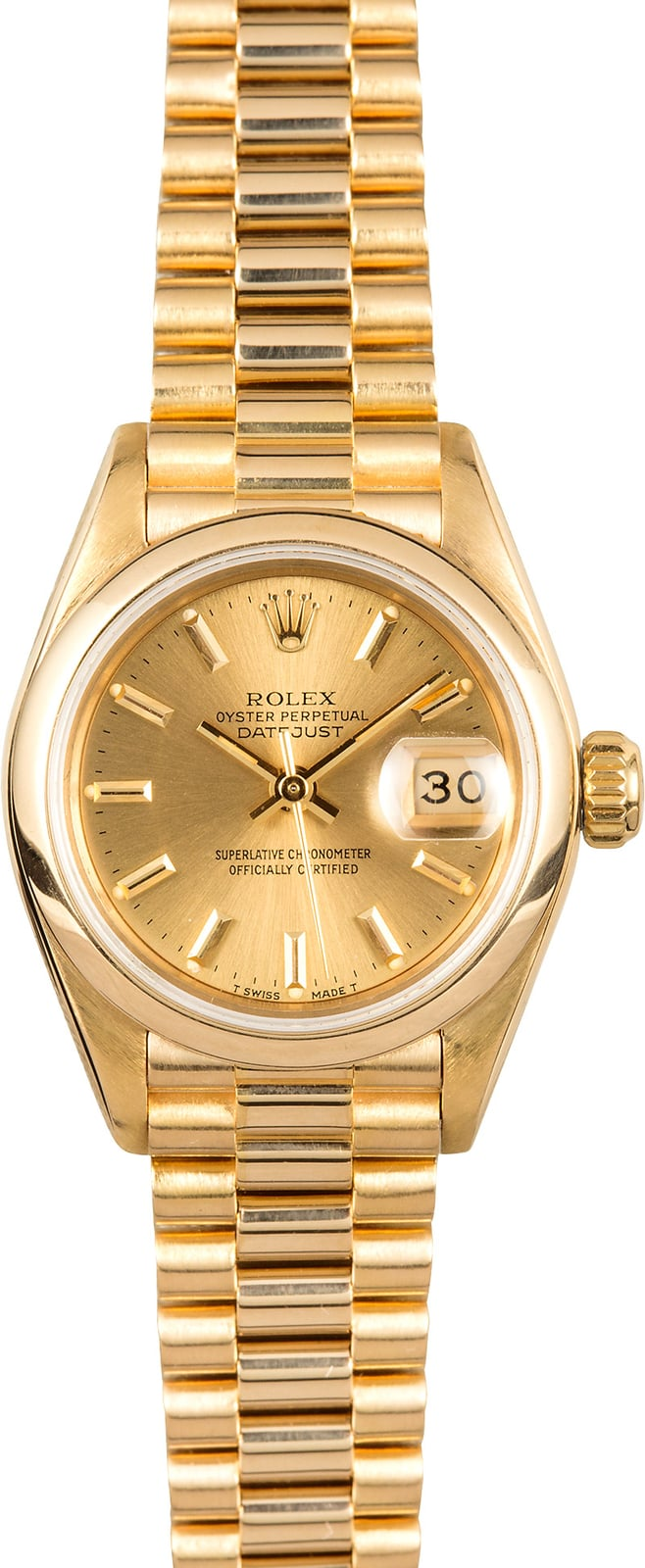 Certified Pre Owned >> Ladies Gold Rolex Datejust 69178 Smooth Bezel