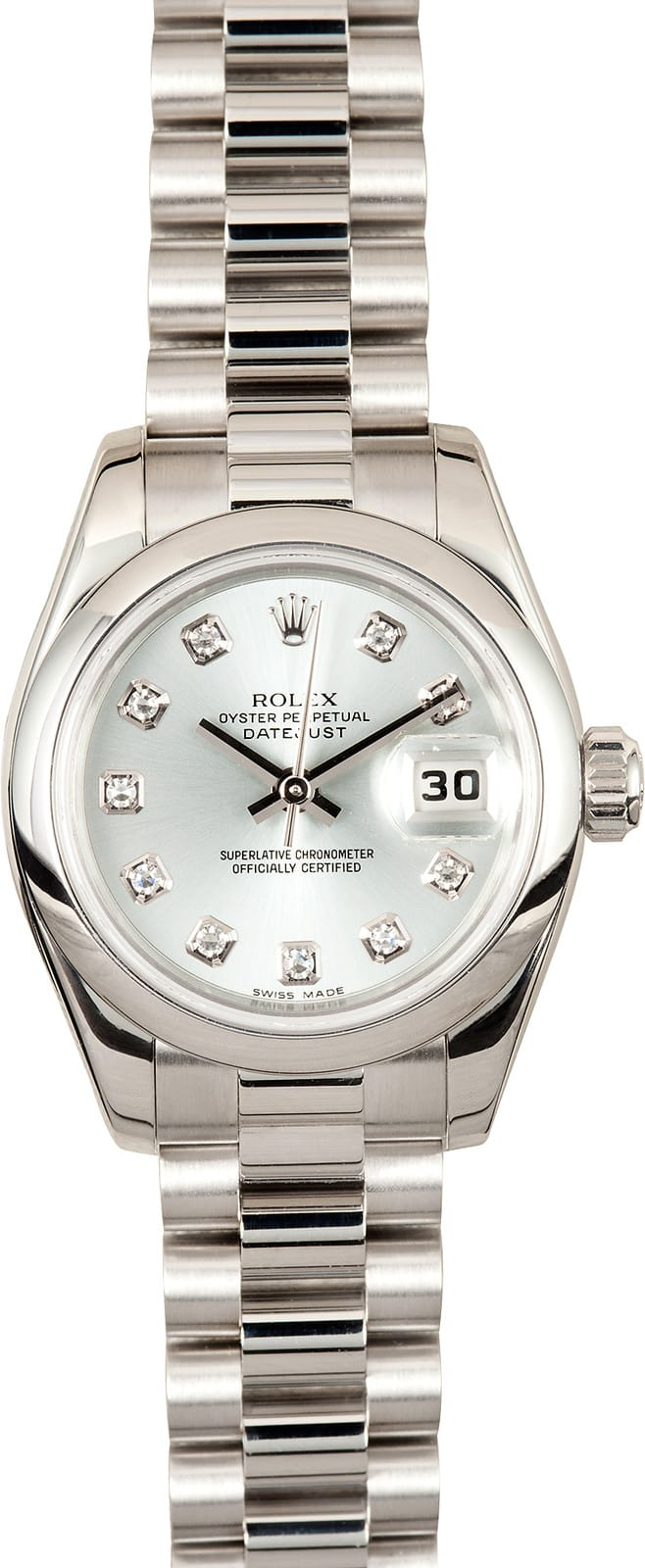 Certified Pre Owned >> Rolex Ladies Presidential 179166 Platinum Glacier Blue at ...