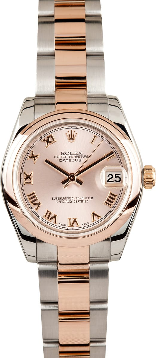 Ladies rolex rose gold mid size watch save at bob 39 s watches for Small size womans watch