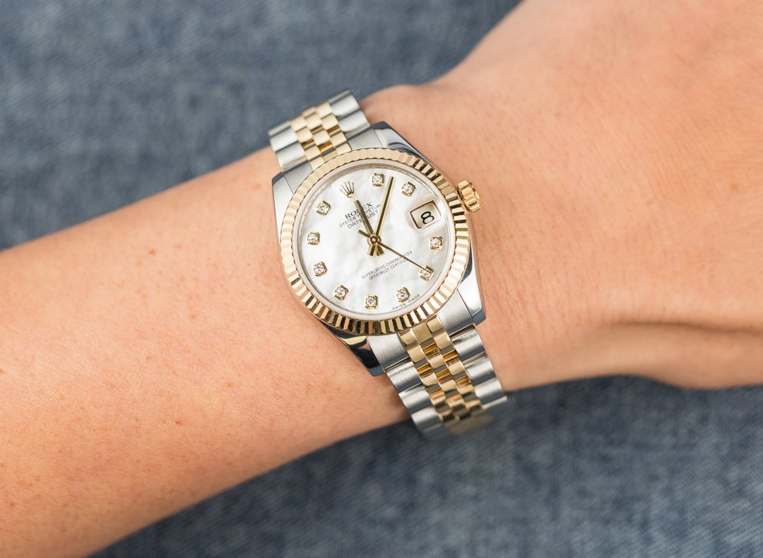 rolex mid size datejust 178273 mother of pearl diamond. Black Bedroom Furniture Sets. Home Design Ideas