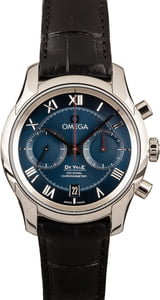 New Omega De Ville Stainless Steel Blue Roman Dial