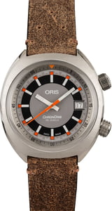 Factory Stickered Oris Chronoris Date Orange Markers Brown Leather Strap