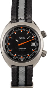 Oris Chronoris Date Orange Markers Gray Textile Strap