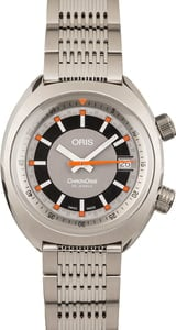 Oris Chronoris Date Orange Markers Brown Leather Strap