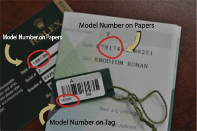 Rolex model numbers on papers