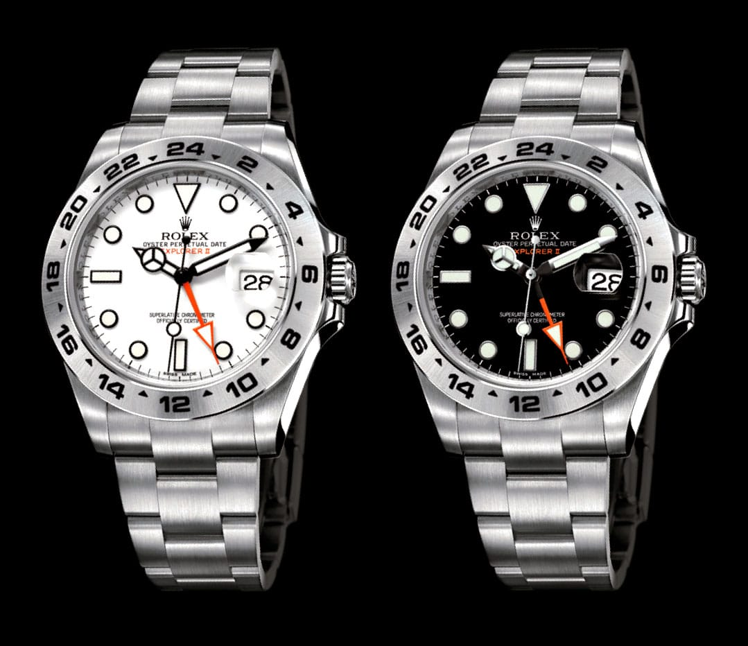 Rolex Explorer II comes in either black or white.