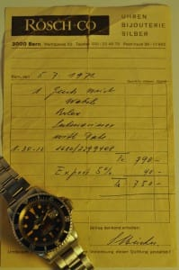 Rolex watch 1971 receipt with the watch.