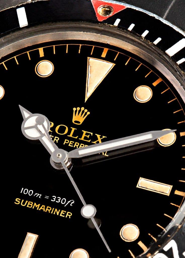 vintage rolex submariner on blue macro
