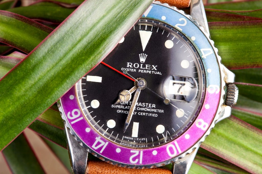This Rolex GMT is a vintage timepiece.