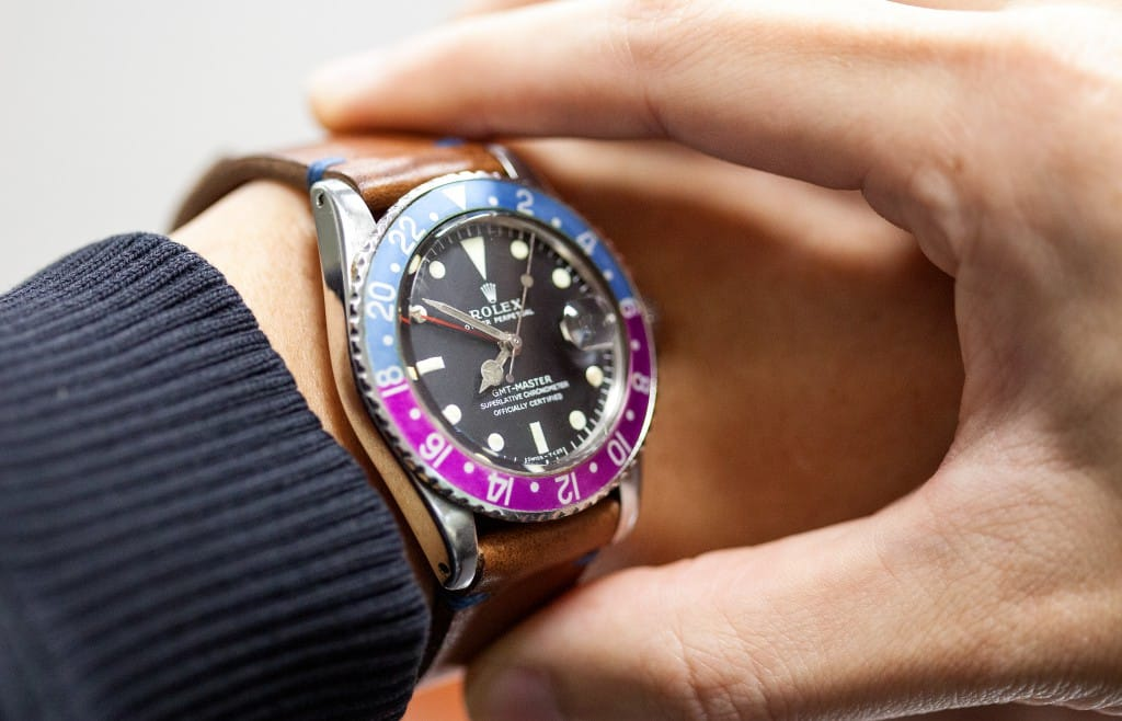rolex gmt vintage tropical wrist
