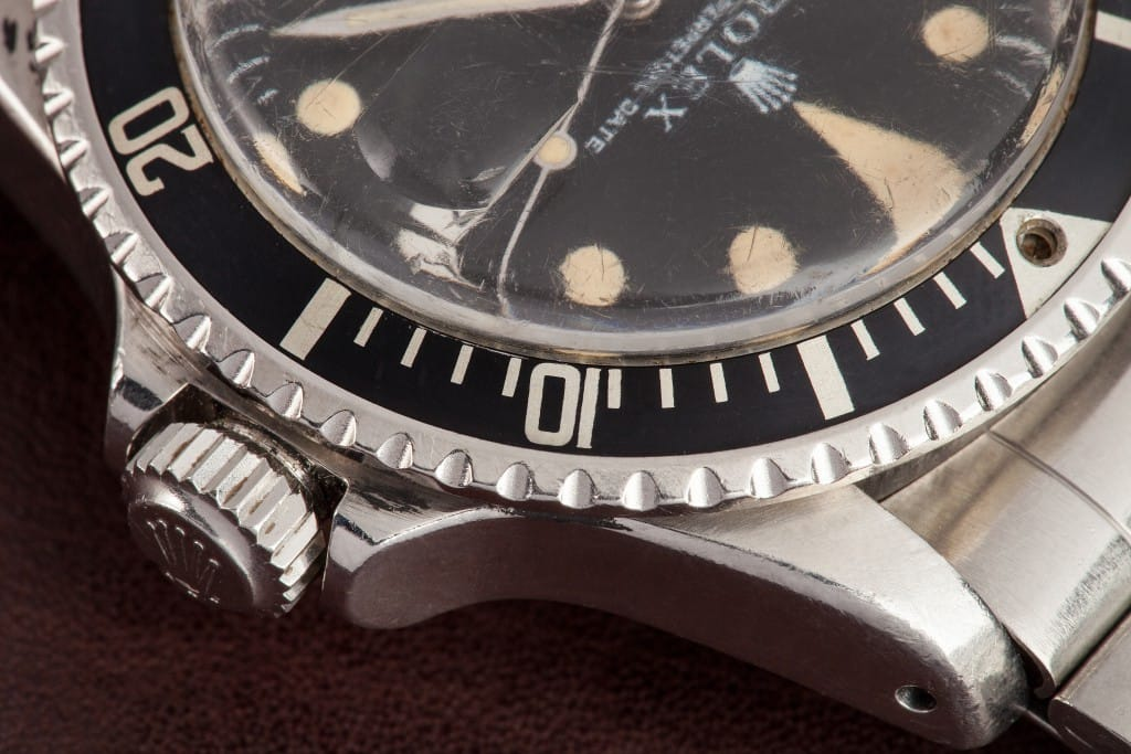 vintage red rolex submariner close up