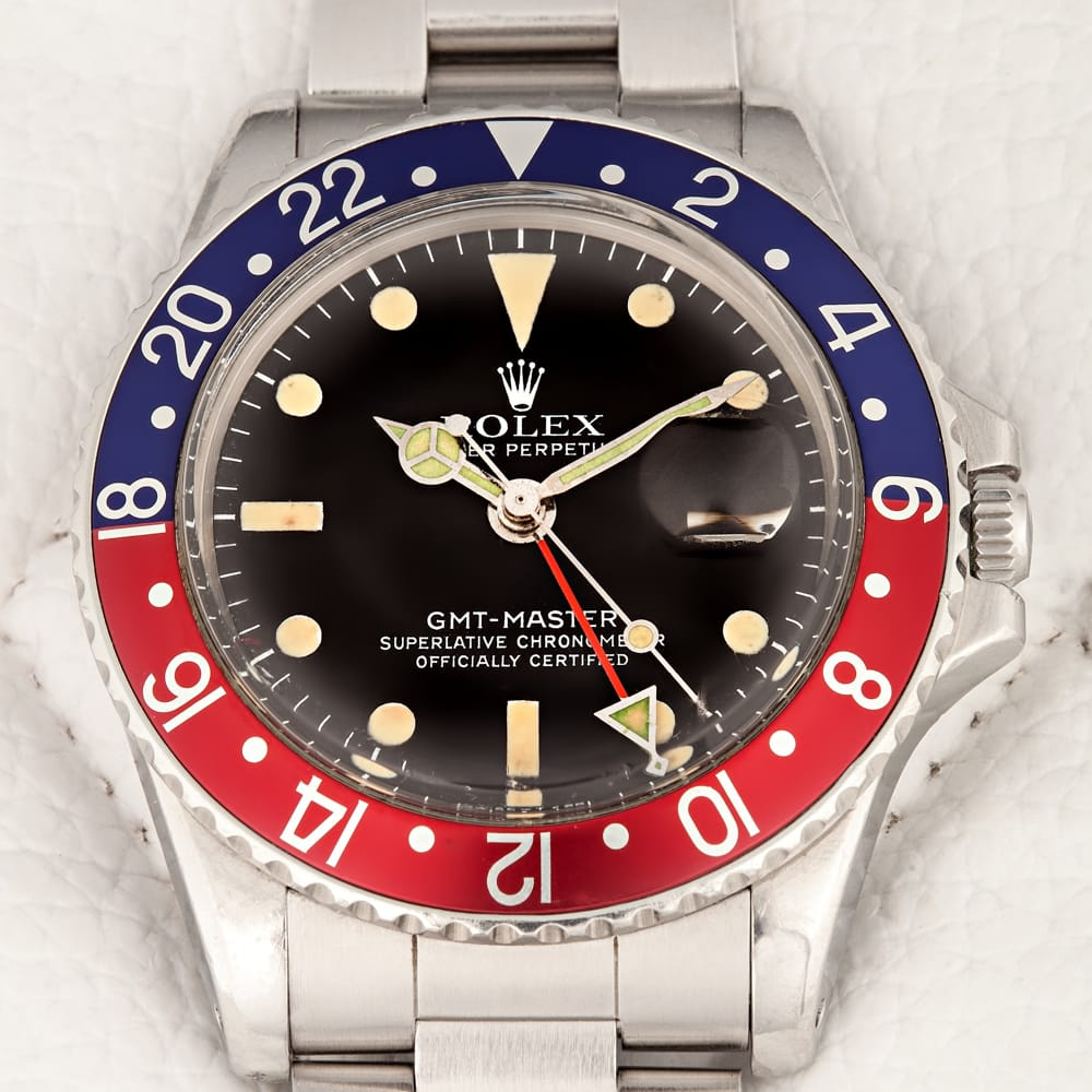 This Vintage Pepsi bezel GMT 1675 from Bob's Watches features a matte dial.