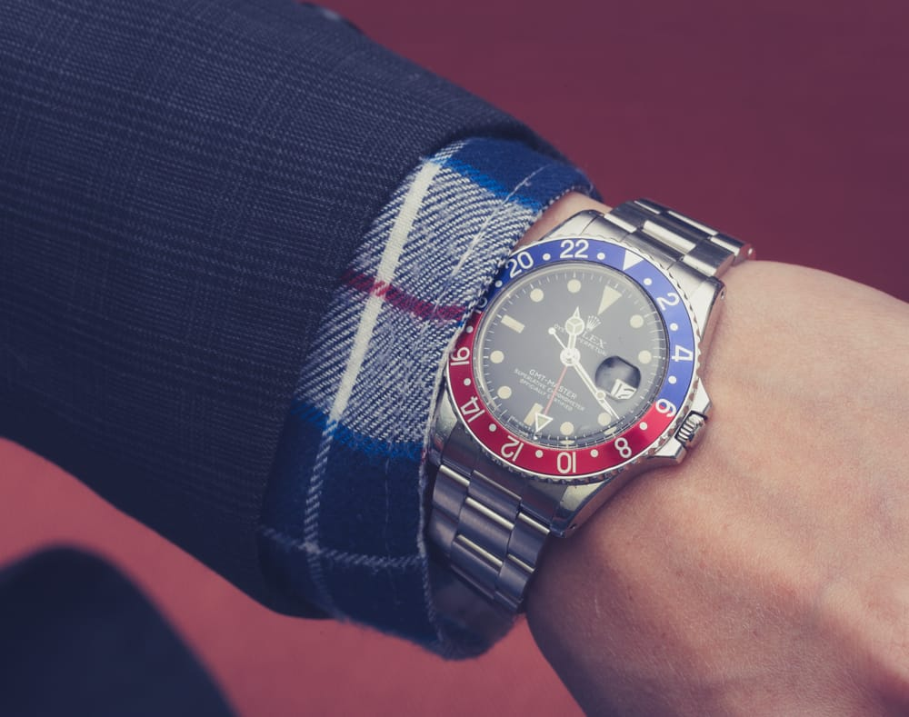 fake rolex wrist shot of vintage Pepsi GMT 1675