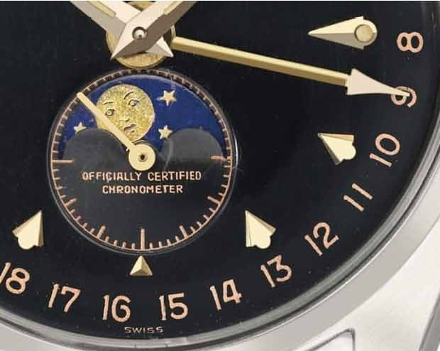 Rolex Ref 6062 Annual Calendar Black Dial Moonphase detail