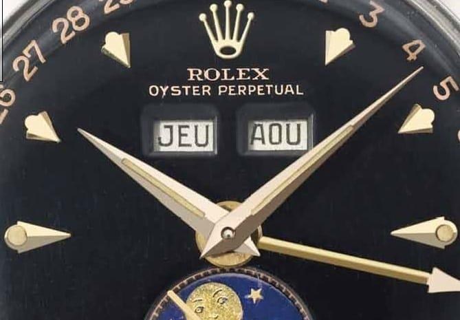 Rolex Ref 6062 Annual Calendar Black Dial Dial detail