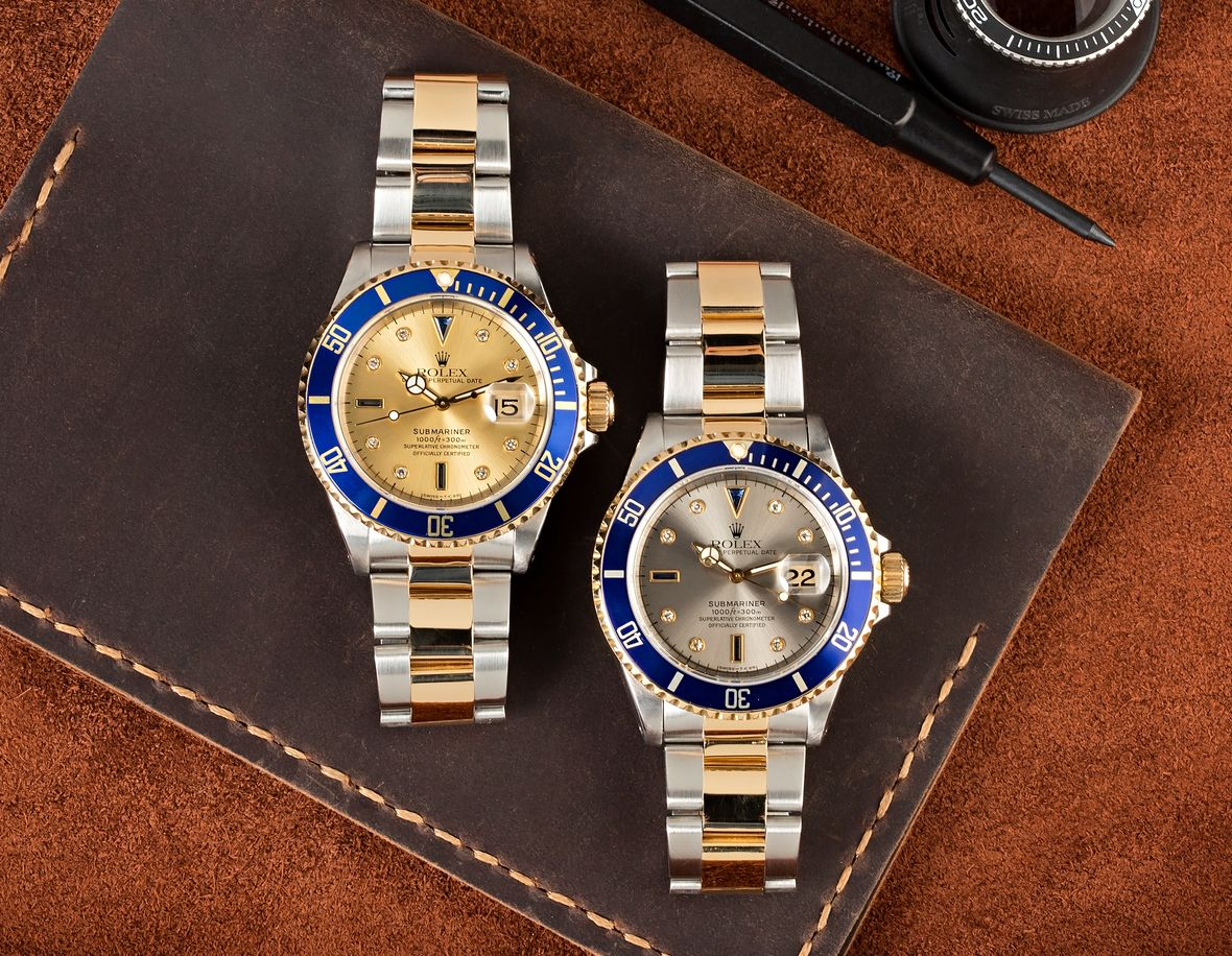 Rolex 16613 Submariner Two-Tone Steel and Gold Serti Dial Diamond Sapphire