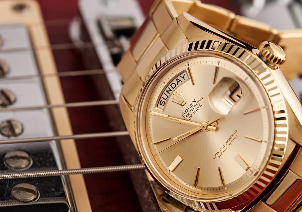 vintage gold rolex day date president bridge les paul gibson