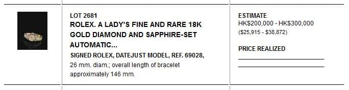 18K Gold Ladys Rolex Datejust