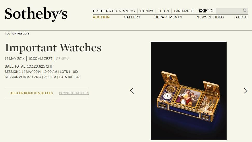 Sothebys Website