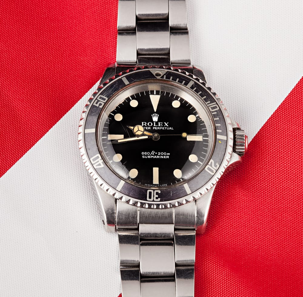 The 5513 Submariner was retrofitted with a helium escape valve, courtesy of DOXA