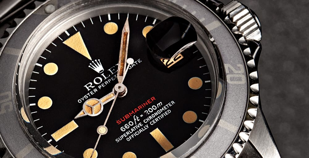 Dial of Red Rolex Submariner - Bob's Watches
