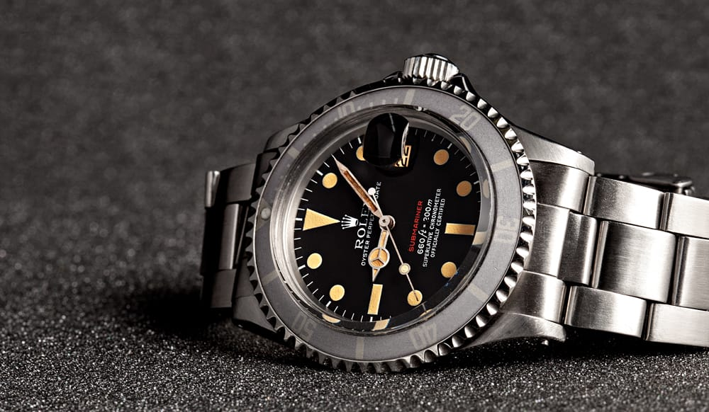 This is a Rolex Vintage Red Submariner 1680 from Bob's Watches