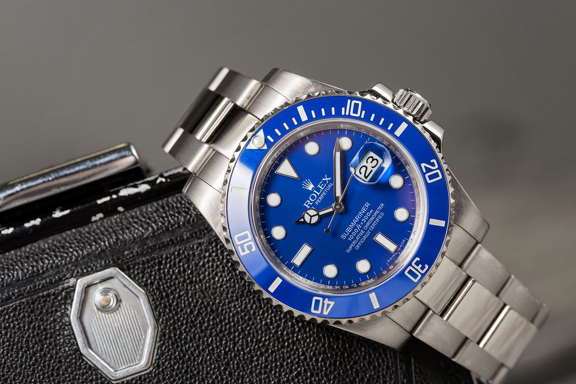 White Gold Rolex Submariner 116619 LB Smurf Blue Dial