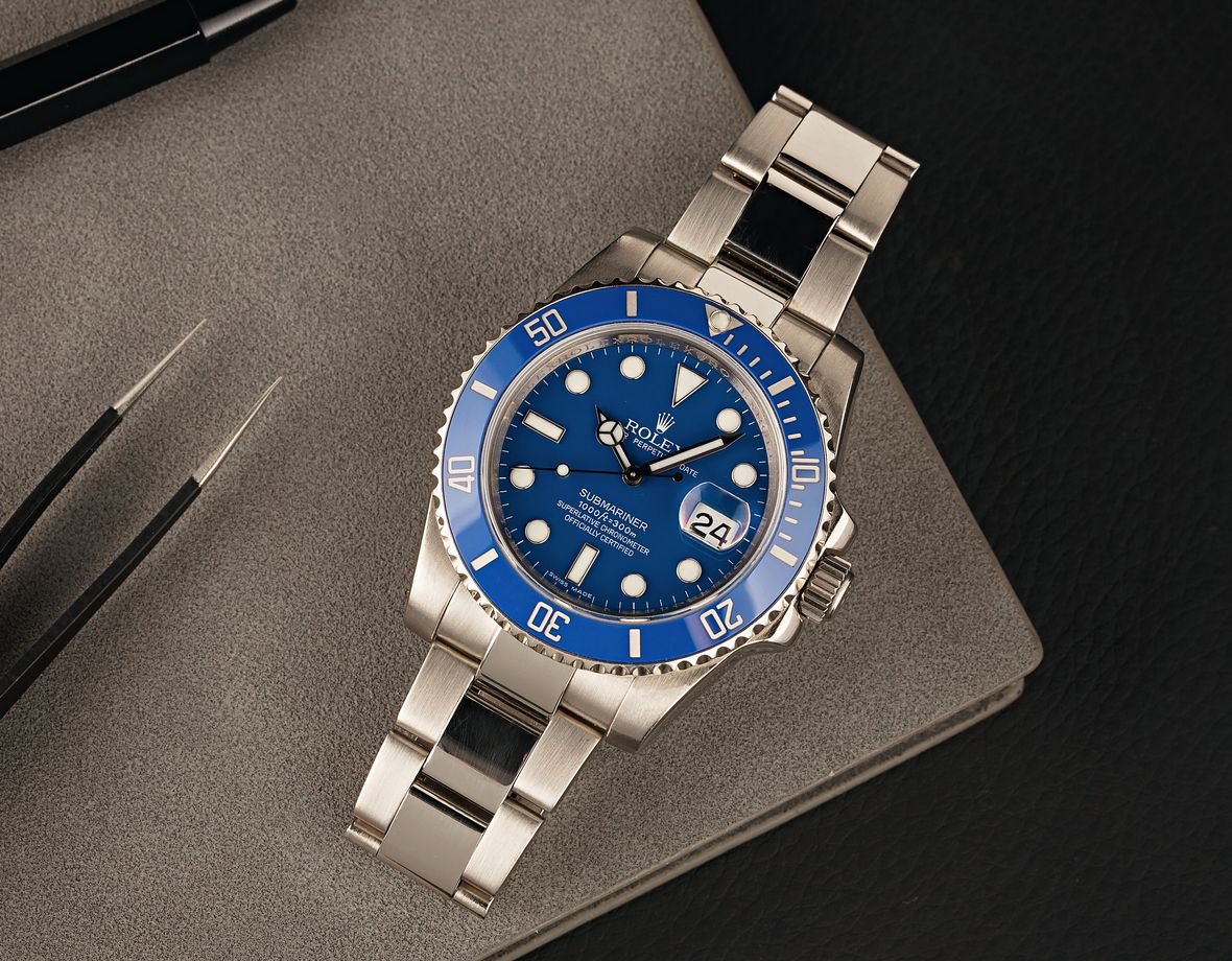 Rolex Submariner Smurf White Gold 116619 Blue Dial