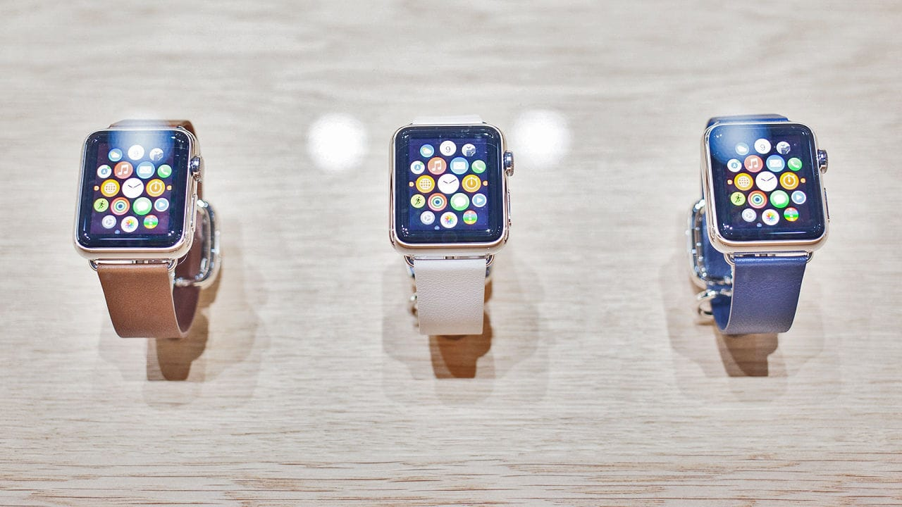 Apple iWatches in Display Case