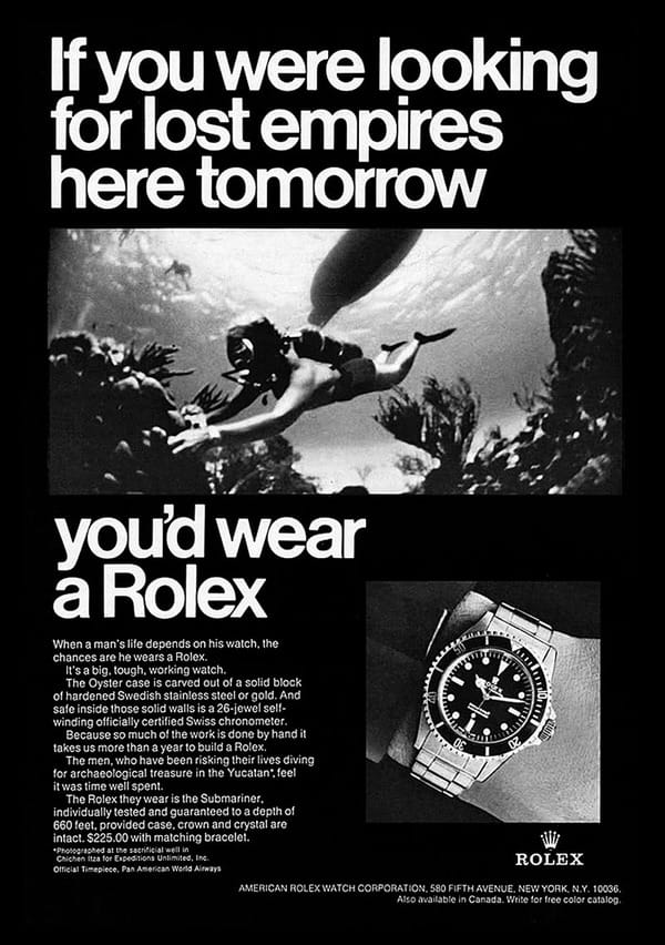 cave diving rolex watch