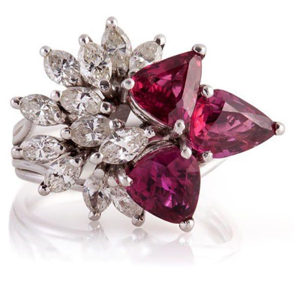 Platinum Ruby & Diamond Estate Ring