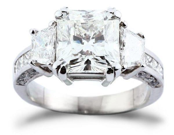 3.71 Carat Square Radiant Cut Diamond Engagement Ring
