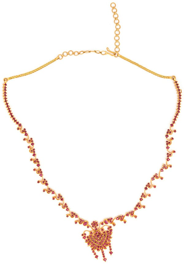 22k Yellow Gold Necklace with Rubies