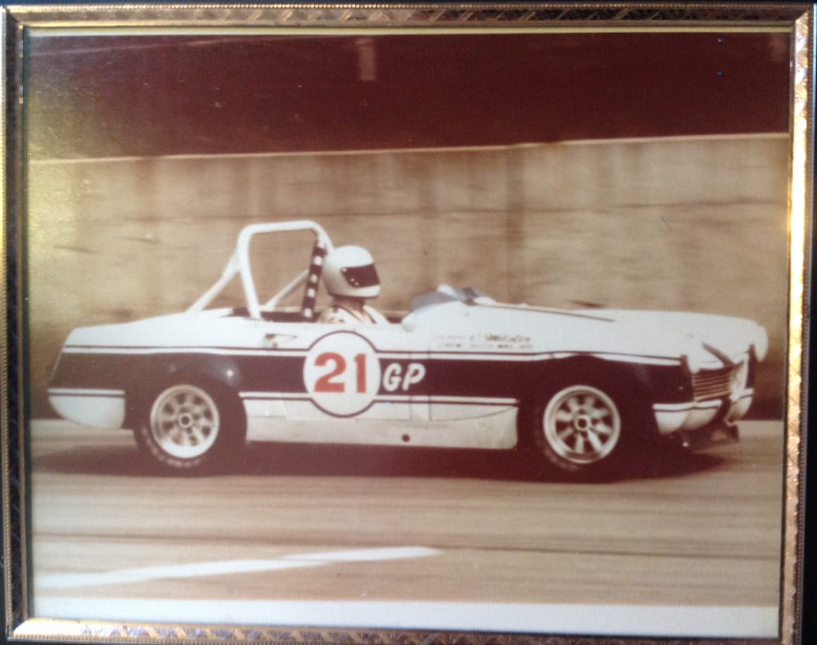 Jeff's fathers race car used to rival Paul Newman at the local track