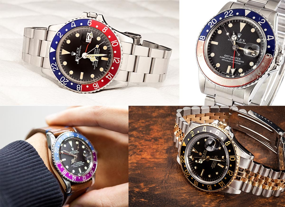 A collection of GMT-Master 1675 watches.