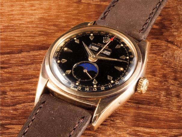 Rolex Oyster Perpetual Triple Calendar Moonphase 6062 Black Dial (Lot 79)