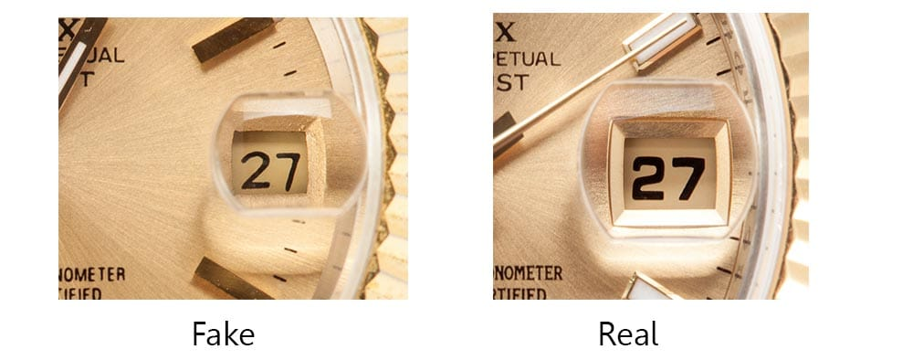 real vs fake rolex cyclops