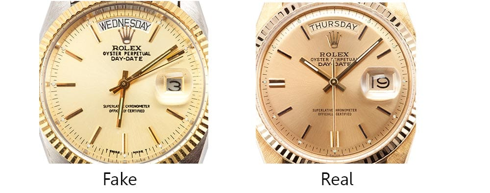 Real vs Fake Rolex Dials