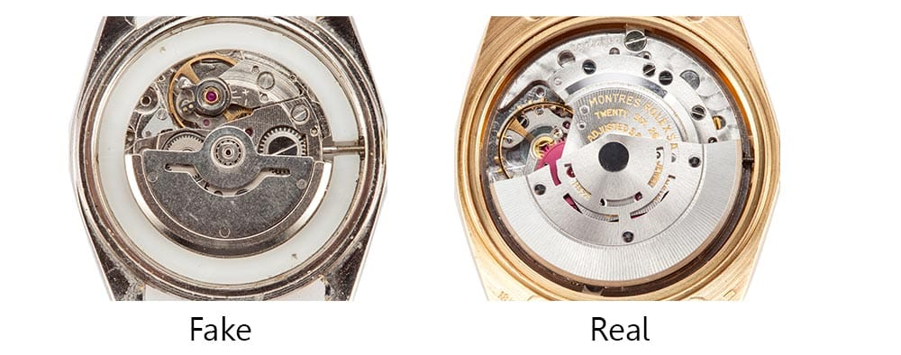 real vs fake rolex movements