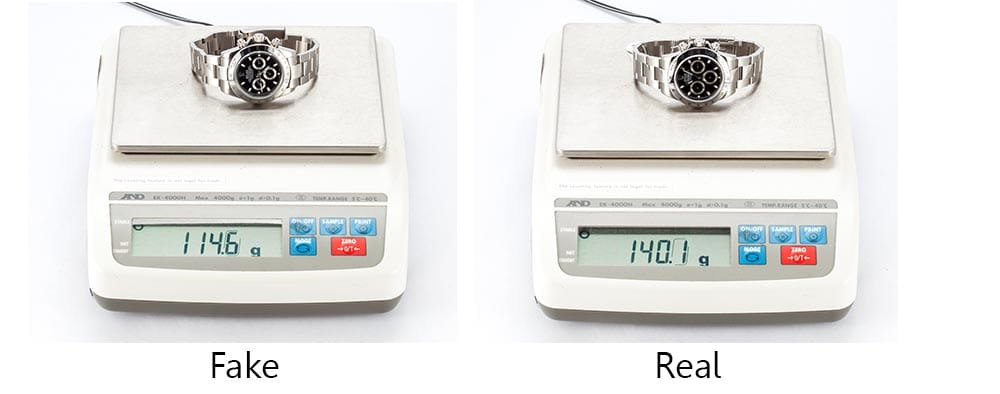 real vs fake rolex weight