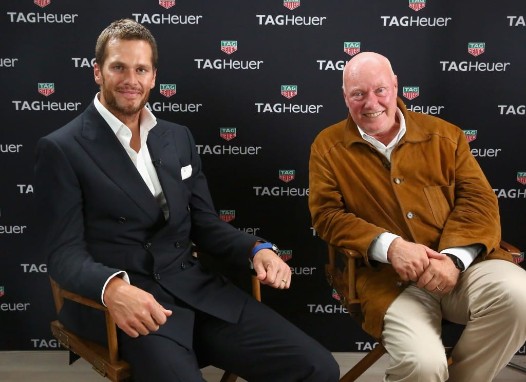 NEW YORK, NY - OCTOBER 13: Jean-Claude Biver (R) and Tom Brady attend the TAG Heuer announcement of Tom Brady as the new brand ambassador and launches the new Carrera - Heuer 01 on October 13, 2015 in New York City