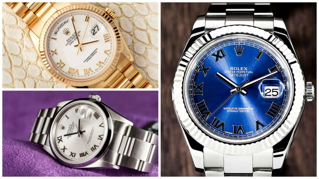Rolex watches with Roman numeral dials