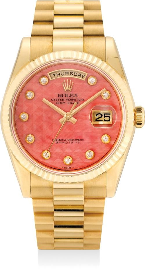 Rolex Day-Date 118238 Coral Stone Dial