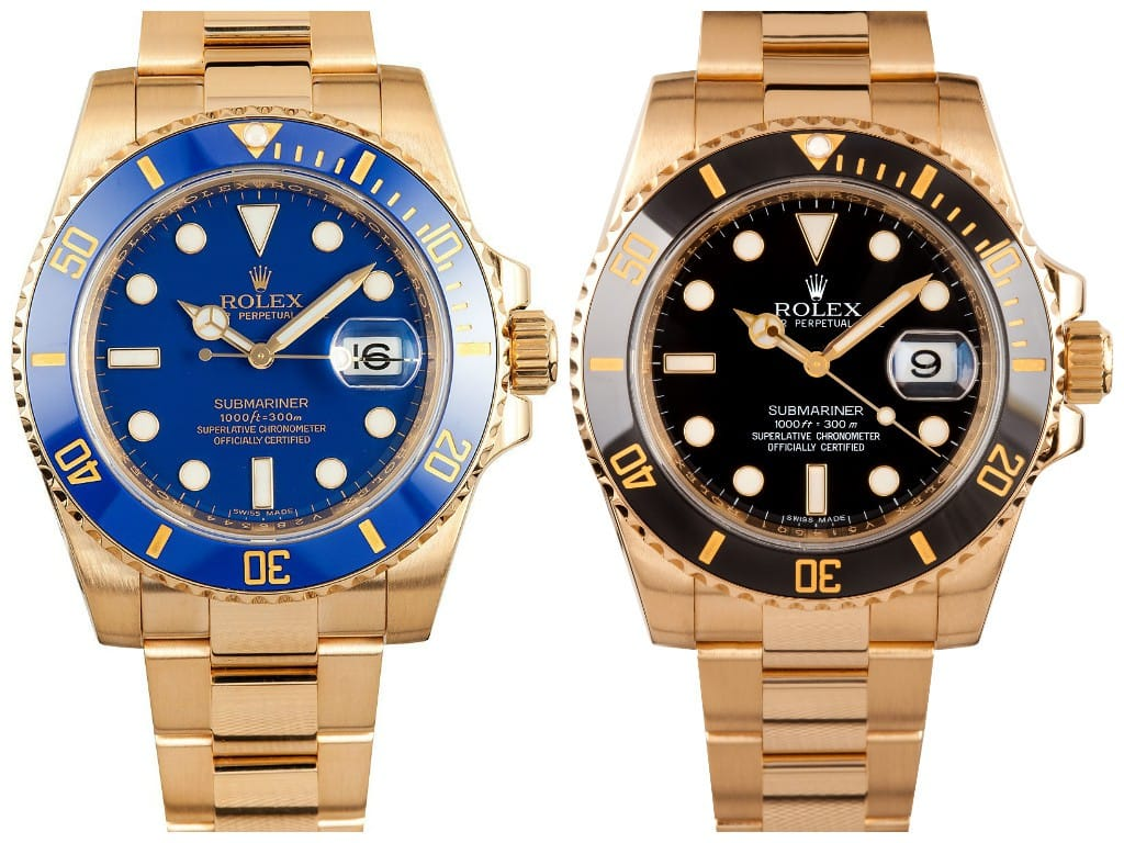 Rolex Submariner 116618LB and 116618LN