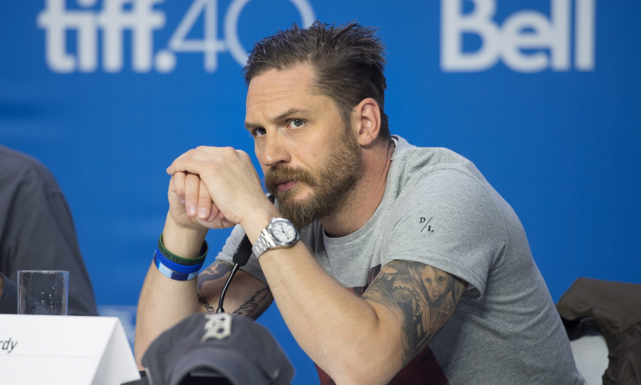 Tom Hardy wearing a Rolex Explorer II. (Photo: Darren Calabrese/The Canadian Press via AP)